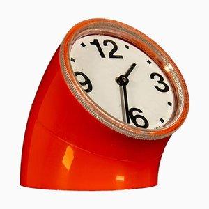 Orologio da tavolo Cronotime arancione di Pio Manzù per Ritz Italora, anni '60