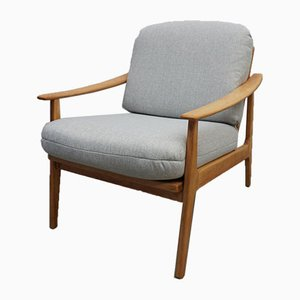 Danish Light Gray Tweed Lounge Chair, 1960s