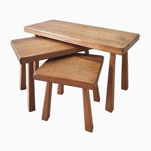 Tavolini ad incastro Mid-Century in quercia, Scandinavia, anni '60