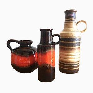 Jarrones Fat Lava de cerámica de Scheurich, años 60. Juego de 3