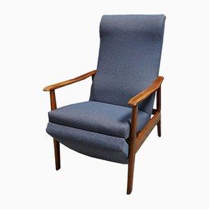 Mid-Century Danish Blue Reclining Armchair, 1960s