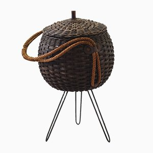Standing Wicker Basket, 1950s