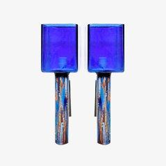 Apliques Mid-Century de vidrio en azul rey. Juego de 2