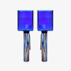 Mid Century Royal Blue Glass Sconces, Set of 2