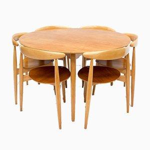 Table de Salle à Manger et Chaises de Salle à Manger Empilables par Hans J. Wegner pour Fritz Hansen, années 50, Set de 7