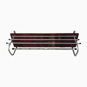 Mid-Century Rosewood and Chrome Wall Coat Rack, 1960s