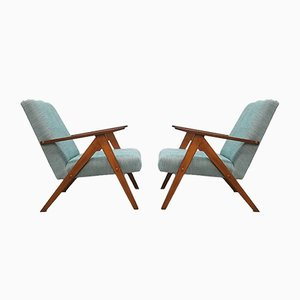 Mid-Century Light Turquoise Model B 310 Lounge Chairs, 1960s, Set of 2