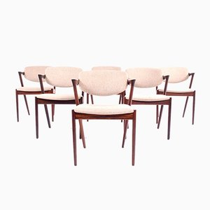 Rosewood Model 42 Dining Chairs by Kai Kristiansen for Schou Andersen, 1963, Set of 6