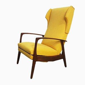 Poltrona Mid-Century reclinabile gialla, Danimarca, anni '60