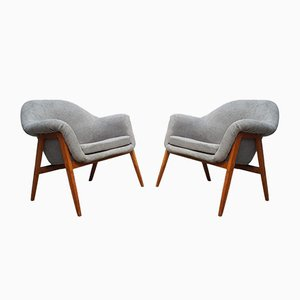 Gray Club Chairs by Miroslav Navratil, 1960s, Set of 2