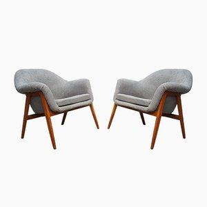 Gray Club Chairs by Miroslav Navratil, 1960s, Set of 2