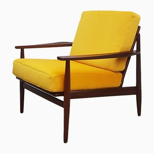 Danish Golden Yellow Velvet Lounge Chair, 1960s