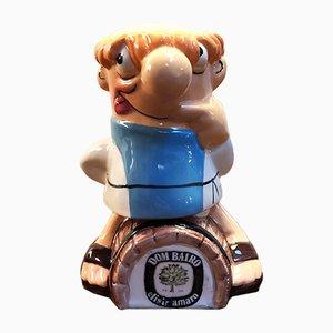 Figurine Publicitaire Dom Bairo Vintage en Céramique de Nova Ceramiche, Italie, années 90