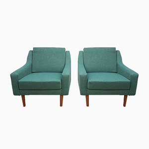 Mid-Century Danish Gray Tweed Lounge Chairs, 1960s, Set of 2