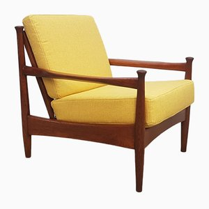 German Yellow Oak Lounge Chair, 1960s