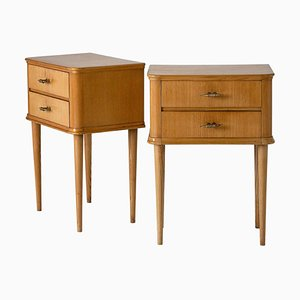 Vintage Oak Nightstands, 1940s, Set of 2