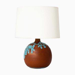 Lámpara de mesa francesa Mid-Century de terracota turquesa esmaltada, años 60
