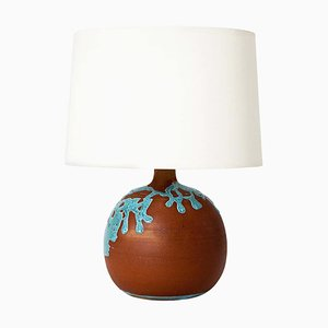 Mid-Century French Turquoise Glazed Terracotta Table Lamp, 1960s