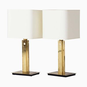 Mid-Century Brass Table Lamps by Örsjö Industri AB, Set of 2