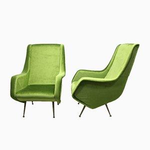 Sillones verdes de Aldo Morbelli para ISA Bergamo, años 50. Juego de 2