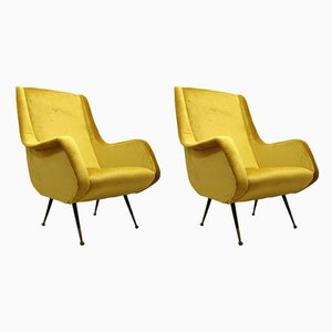Yellow Lounge Chairs by Aldo Morbelli for ISA Bergamo, 1950s, Set of 2