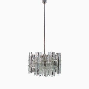 Lámpara de araña austriaca Mid-Century de cristal de hielo de Kalmar, años 70