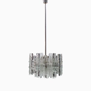 Mid-Century Austrian Ice Glass Chandelier from Kalmar, 1970s