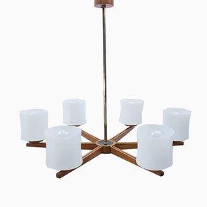Lámpara de techo danesa de teca y vidrio opalino, años 60