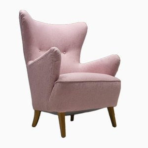 Large Mid-Century Italian Pink Wingback Armchair, 1950s