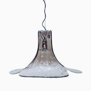 Lampada da soffitto in vetro di Murano fumé e trasparente di Carlo Nason per Mazzega, anni '60