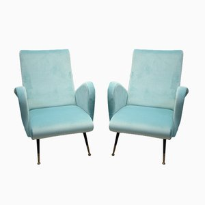 Sky Blue Lady Armchairs by Marco Zanuso, 1950s, Set of 2