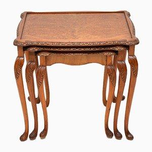 Tavolini ad incastro vintage in radica di noce, anni '30