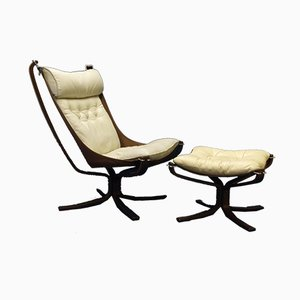 Falcon Chair and Ottoman Set by Sigurd Ressell for Vatne Møbler, 1970s
