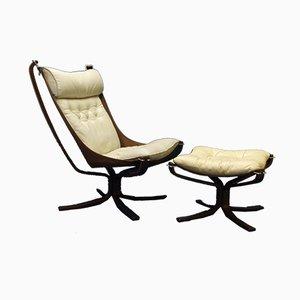 Falcon Chair & Fußhocker Set von Sigurd Ressell für Vatne Møbler, 1970er