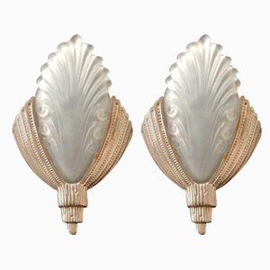 Nickel-Plated Bronze Sconces, 1920s, Set of 2