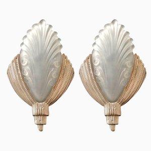 Wandlampen aus vernickelter Bronze, 1920er, 2er Set
