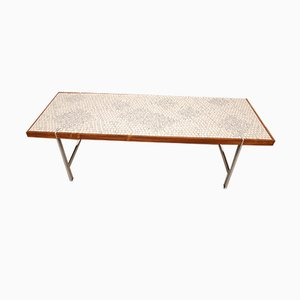 Mid-Century Rectangular Glass Mosaic and Rosewood Coffee Table