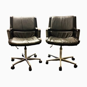 Black Leather Desk Chairs by Yrjo Kukkapuro for Haimi, 1960s, Set of 2