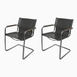 Italian Gray Cantilever Side Chairs from Matteo Grassi, 1970s, Set of 2