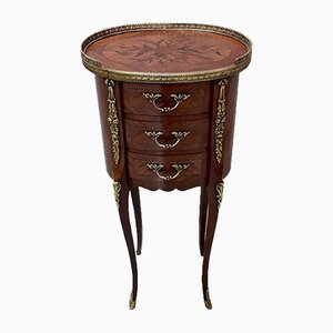 Small Mid-Century Louis XV Style Rosewood Veneer Side Table, 1950s