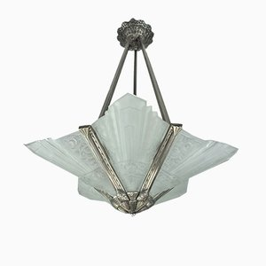 French Plated Bronze Ceiling Lamp, 1920s