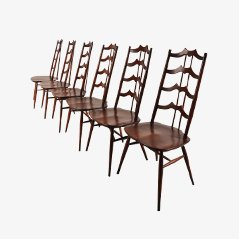 Mid Century Stained Wood Dining Chairs by Lucian Ercolani for Ercol, Set of 6