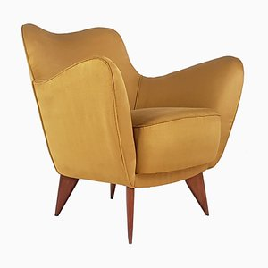 Mid-Century Yellow Fabric and Wood Model Perla Armchair by Guglielmo Veronesi for ISA Bergamo, 1950s