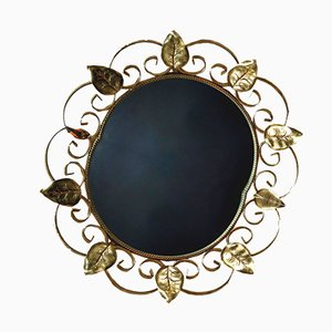 Vintage French Gold Metal Mirror, 1940s