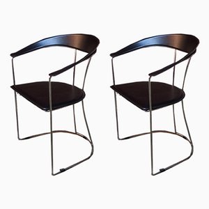 Italian Chromed Steel, Metal, and Black Leather Dining Chairs, 1980s, Set of 2