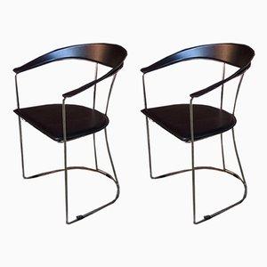 Sillas de comedor italianas de acero cromado, metal y cuero negro, años 80. Juego de 2