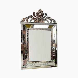 Italienischer Vintage Spiegel mit abgeschrägtem Spiegelglas, 1940er