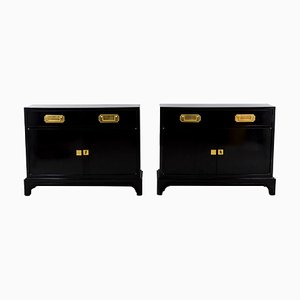 Black Lacquered Buffets, 1950s, Set of 2