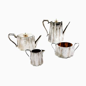 Victorian Silver Plated Tea and Coffee Set from Richard Martin & Ebenezer Hall & Co, 1850s