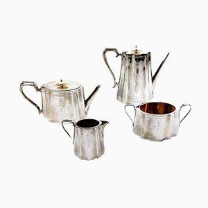 Viktorianisches versilbertes Tee- und Kaffeeservice von Richard Martin & Ebenezer Hall & Co